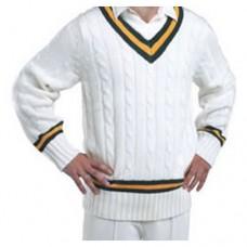 Newbold Verdon CC Long Sleeve Acrylic Wool Cricket Sweater (Green/Amber Trim)