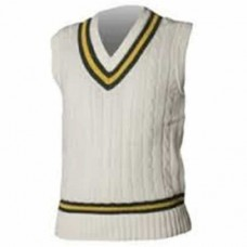 Appleby Magna CC Sleeveless Acrylic Wool Cricket Sweater (Green/Amber Trim)