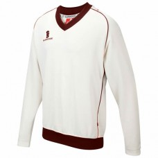 Crossbank Meths CC Long Sleeve Cricket Sweater (Maroon Trim)