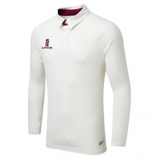 Merton CC Long Sleeve ERGO Cricket Shirt (Maroon Trim)