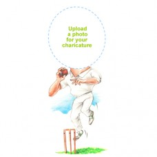 Personalised Cricket Caricature Bowler
