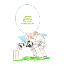Personalised Cricket Caricature Wicket Keeper